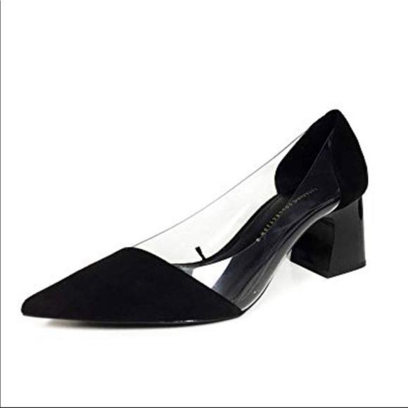 Zara Shoes | Vinyl Suede Block Heels